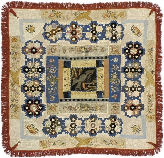 A quilt said to be made by Elizabeth Keckley from scraps of Mary Todd Lincoln's dresses.