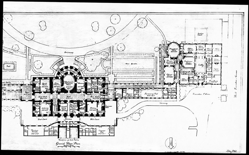 1943 Press Room Floor Plan White House Historical Association